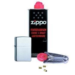 Zippo Chrom Standard (gebürstet / brushed) im Set: Zippo Feuerzeug + 125ml Benzin + 6x Feuersteine im Spender