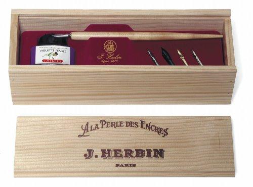 J.Herbin 27077T Kalligraphie  Geschenkset in Holzbox , La perle des encres