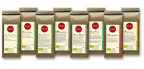 Tee Geschenkset Probierset Biotee Quertee® Nr. 1 – 8 x 25g Bio Tee – Tee Geschenk