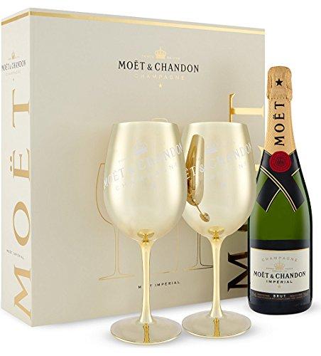 Moët & Chandon Brut Impérial Gold Glas Champagner Geschenk-Set mit 2 goldenen Gläsern in Geschenkverpackung (1 x 0.75 l)