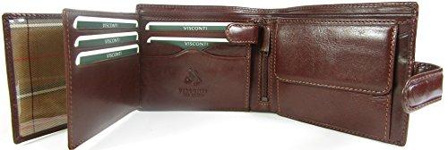 Visconti Monza Rome Geldbörse/Portemonnaie, Herren, hochglänzendes Italienisches Leder, MZ5  braun braun