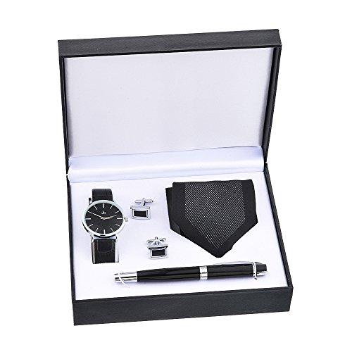 Souarts Herren Geschenkset mit Armbanduhr Füllfederhalter und Krawatte und Manschettenknopf Geschenkset für Herren Geschenk