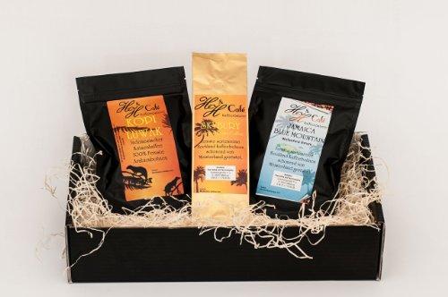 Kaffee – Raritäten Geschenk Set – Katzenkaffe Kopi Luwak (von freilebenden Tieren), Jamaika , Hawaii Kona gemahlen als Geschenk frisch geröstet als Weihnachtsgeschenk