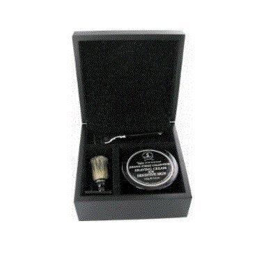 Schwarz Shaving Geschenk-Set in Holzbox Mach Rasierer und Dachshaarpinsel
