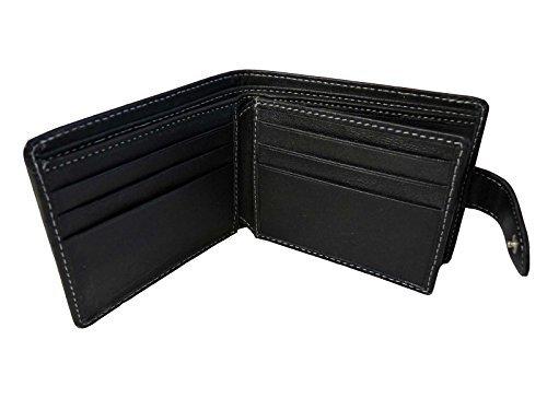 PREMIUM ECHTE Leder Herren Männer Brieftasche Münzbeutel 6 Kreditkarten Roamlite RL507 – Schwarz GESCHENKVERPACKUNG