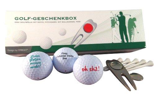 Golf Geschenkset SPRÜCHE in edler Geschenkbox by CEBEGO®,Golfgeschenke Golfartikel Golfballset Pitchgabel, edel Golfzubehör