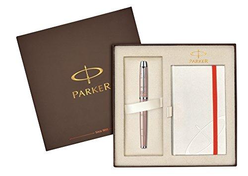Parker Geschenk-Set–im Premium Metallic Pink Füllfederhalter, mittelgroße Feder, + Weiß Notebook