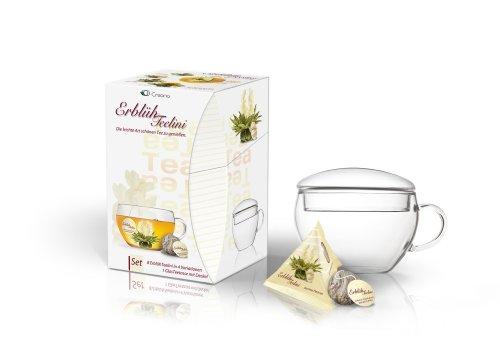 Creano ErblühTeelini Teeblumen Geschenkset mit Teeglas und 8 Teeblumen im Tassenformat |Weißer Tee