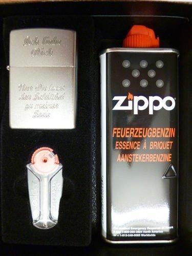 Zippo Feuerzeug Geschenk Set mit persönlicher Gravur Liebeserklärung z. Valentinstag