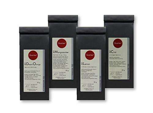 Schwarzer Tee / Schwarztee Geschenkset Probierset Biotee Quertee® Nr. 34 – 4 x 50 g – Tee Geschenk