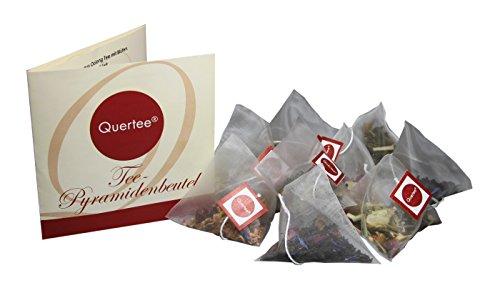 24 x Tee Pyramidenbeutel mit 4 verschiedenen Teesorten zum Probieren und Verschenken – Tee Probierset von Quertee® (66 g insgesamt)