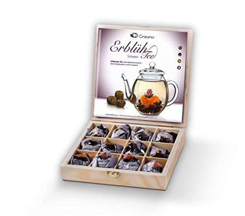 Creano Teeblumen Geschenkset in Holz-Präsentbox
