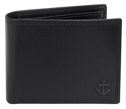 Lansburry Portemonnaie mit RFID Schutz, Geldbörse aus Leder, RFID-Blocker, Geldbeutel, Brieftasche – Liefert Schutz vor unerlaubtem Datendiebstahl (Schwarz)
