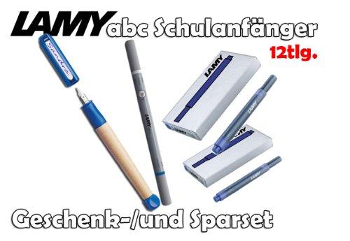 LAMY abc Schulanfänger Füllfederhalter BLAU [Starter-/Geschenkset] inkl. 2 Päckchen Tintenpatronen = 10Stk. & Tintenkiller M