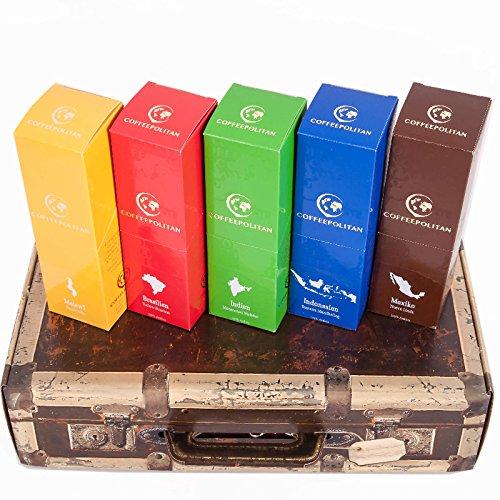 Coffeepolitan Geschenkset – Kaffee aus 5 Kontinenten – grob gemahlen 5 x 9 Portionen (5 x 63g) – eine ausgefallene Geschenkidee zum Geburtstag oder als Probier-Set