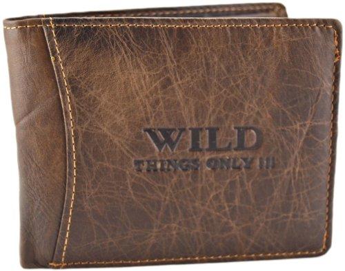 Herren Geldbörse Geldbeutel Portemonnaie Leder WILD, Farbe:Braun