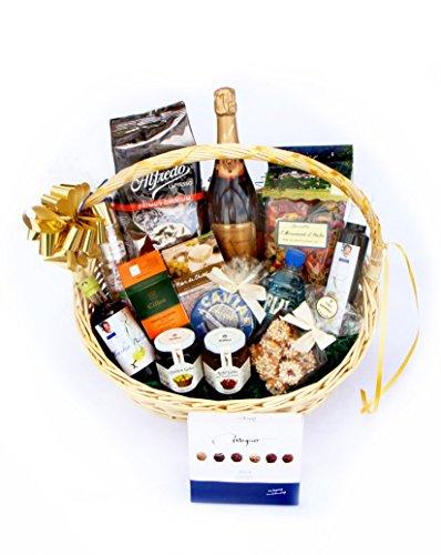 Kulinarisch-königlicher Luxus-Geschenkkorb mit Champagner