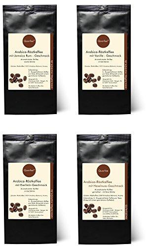 4 x Kaffee mit Geschmack Geschenkset – Jamica Rum, Vanille, Eierlikör, Haselnuss -Geschmack – Arabica Röstkaffee mit Aroma – gemahlen – 4 x 75 g (300 g insgesamt)