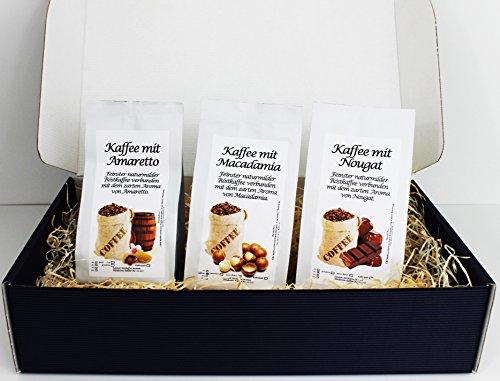 Geschenk Set Aromatisierter Kaffee Gemahlen 3 x 200 g (Amaretto, Macadamia und Nougat)