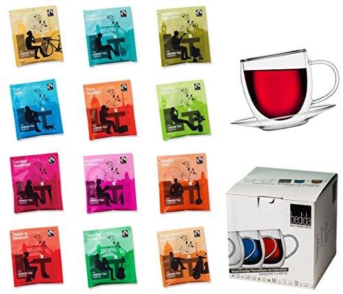 TEE GESCHENKSET: 400ML DOPPELWANDIGE GLASTASSE + 12x TEEBEUTEL – ein tolles Teeset, Probier- und Geschenkset, best. aus: 1x 400ml Doppelwandtasse + 12 verschiedene Teebeutel der Edelmarke