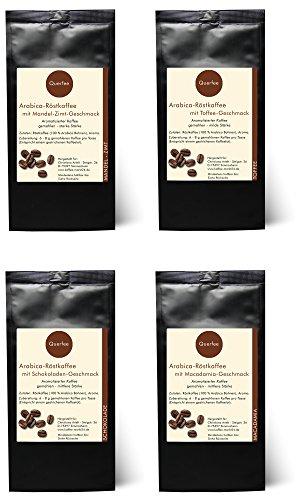 4 x Kaffee mit Geschmack Geschenkset – Mandel Zimt, Toffee, Schokolade, Macadamia – Arabica Röstkaffee mit Aroma – gemahlen – 4 x 75 g (300 g insgesamt)