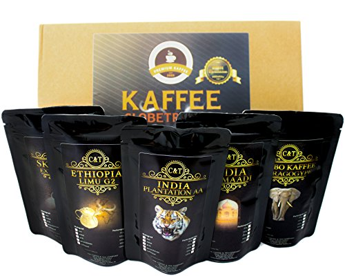 Kaffee Globetrotter – Echte Raritäten – Box (Ganze Bohne) – 5 Mal 100g Raritäten Spitzenkaffee – Werden Sie Zum Entdecker – Geschenk Set – Länder Kaffee aus aller Welt – Kaffeebohnen im Geschenkkarton , das perfekte Geschenk