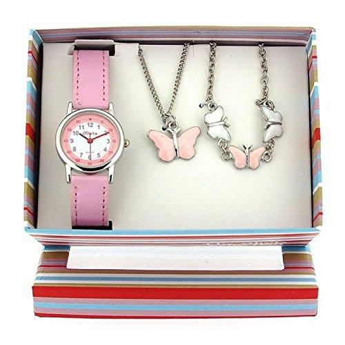 The Olivia Collection- Armbanduhr, Anhänger und Armband mit Schmetterlingen. Geschenkset KS002