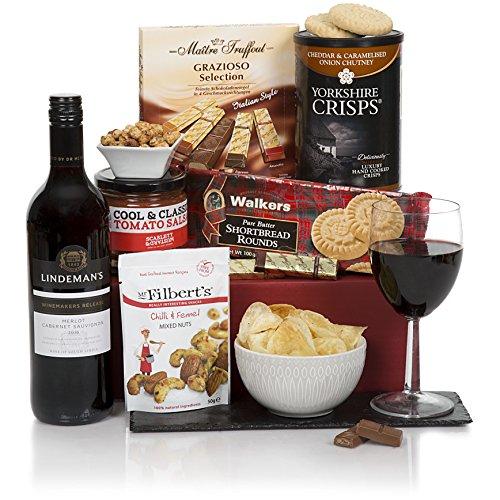 Der Gentleman der Lebensmittel- & Weinkörbe – Herren Präsent- & Geschenkkörbe Für Ihn – Wein, Pastete, süße und herzhafte Geschenkkörbe