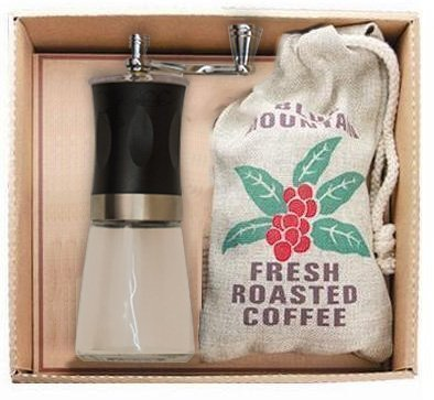 Kaffee Geschenk Set – 2 teilig – Kaffeemühle – Kaffee- 50 g Jamaika blue Montain (Ganze Bohne)