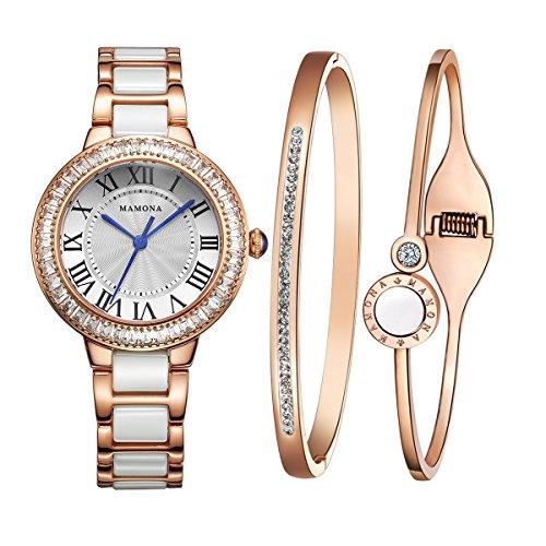 MAMONA Damen Uhren Armbanduhr Geschenk Set Kristall Akzente Keramik/Edelstahl Rose Gold L68008RGGT