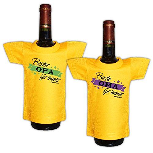 Lustiges Geschenk für Großeltern Mini T-Shirt für Flaschen : / Bester Opa / Beste Oma — 2 er Set Goodman Design®