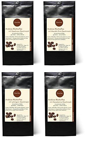 4 x Kaffee mit Geschmack Geschenkset – Haselnuss, Mandel-Zimt, Sahne, Macadamia – Arabica Röstkaffee mit Aroma – gemahlen – 4 x 75 g (300 g insgesamt)