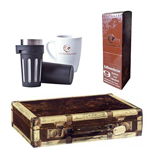 Coffeepolitan Premium-Geschenk Kaffee-Weltreise mit Zubereitungsset – 9 Kaffeesorten aus 9 Ländern – ideal als Geburtstagsgeschenk