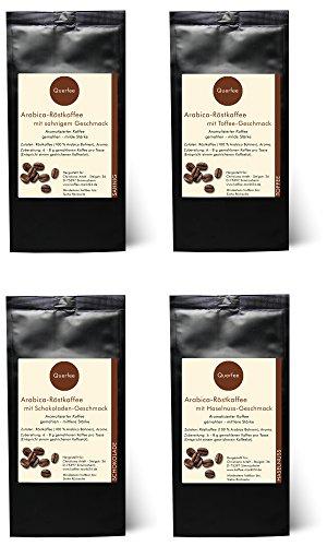 4 x Kaffee mit Geschmack Geschenkset – Sahne, Toffee, Schokolade, Haselnuss – Arabica Röstkaffee mit Aroma – gemahlen – 4 x 75 g (300 g insgesamt)