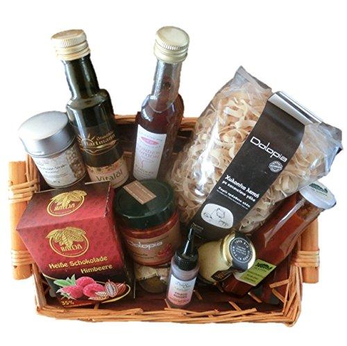 Geschenkkorb / Präsentkorb Delikatessen Vorzüglich mit Créma di Balsamico, Nudeln, Saucen, Öl, Essig, Gewürz und Heiße Schokolade | gut als Geschenkkorb gefüllt für Frauen, Kunden, Delikatessen Korb, Gourmet Geschenkkorb, Feinschmecker Geschenk, Gourmet Geschenke, Geschenk für Senioren,