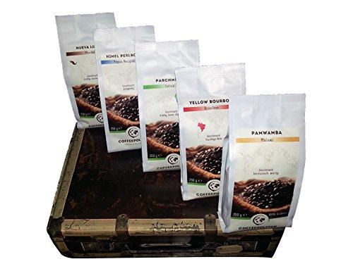 Coffeepolitan Kaffee Geschenk-Set – Kaffeebohnen aus 5 Kontinenten – ganze Bohne 5x250g, eine exklusive Geschenk-Idee, ideal auch als Geburtstagsgeschenk oder Probier-Set