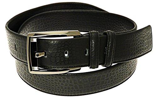 Herren schwarz Ledergürtel in Geschenkbox – Passend Taille ca. 101-109 cm (40-43 Zoll).