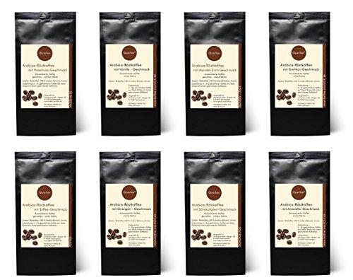 8 x Kaffee mit Geschmack Probierset Geschenkset – Haselnuss, Vanille, Mandel Zimt, Eierlikör, Toffee, Orange, Schokolade, Amaretto -Geschmack – Arabica Röstkaffee mit Aroma – gemahlen – 8 x 75 g (600 g insgesamt) – Geschenkset – Probierset