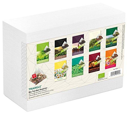 Bio Tee-Set Superior mit 45 Triangle Sachets – Tee Geschenkset / Tee Probierset, 117,5 g