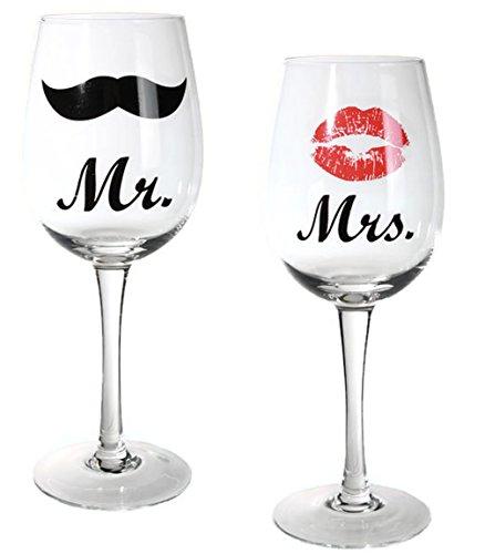 Bada Bing 2er Set Weinglas Mr and Mrs Paargeschenk Hochzeitsgeschenk Rotweinglas Weißweinglas Geschenkverpackung