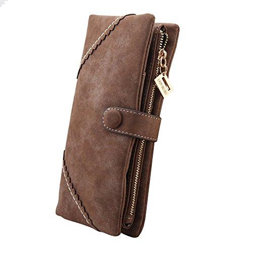 Cozyswan Mode Leder Geldbörse Geldbeutel mit Knopf Damen Lange Damenhandtasche Portemonnaie – Coffee Braun