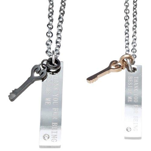 Partnerketten / Partneranhänger Edelstahl silber / Freundschaftsketten Schlüssel (B5007) INKL. GESCHENKVERPACKUNG