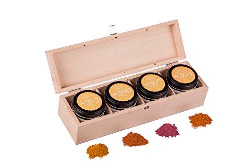 Geschenkset Curry – mit Indischem Curry, rotem Thai Curry, Purple Curry und Dragon Curry in edler Geschenkbox