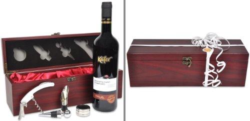 Handverpacktes Wein-Geschenk Rendezvous mit italienischem Rotwein plus Kellnermesser in edler Holzbox