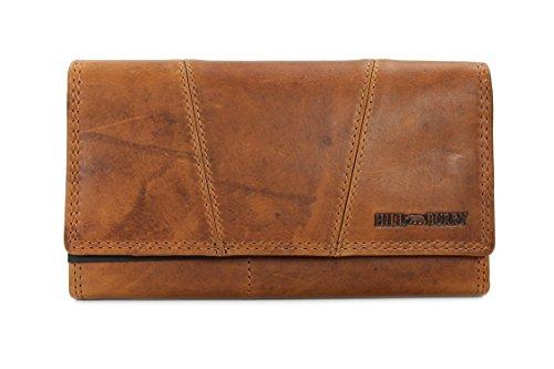 Hill Burry Vintage Leder Damen Geldbörse Portemonnaie braun | rot | grau | schwarz aus weichem Leder – 17,5x10x3cm (B x H x T) (Braun)