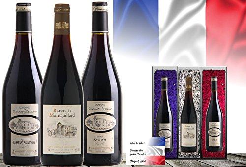 Luxus Wein-Geschenk Frankreich   Vintage France 3er Set   Syrah, Cabernet Sauvignon, Cuvée   Das Luxusgeschenk für Wein-Freunde & Kenner   limitierte Edition  mit Geschenkkarte  45 Jahre alte Reben