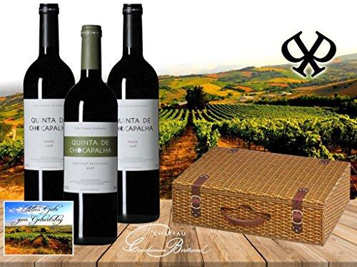 100% Portugal Vintage Wein Geschenkset   QUINTA DE CHOCAPALHA Vinho Tinto   Das Luxus Weingeschenk für Liebhaber portugiesischer Weine mit Geschenkkarte   Die Alternative zu Weinen aus dem Bordeaux oder Italien   Syrah, Cabernet Sauvignon, Merlot   3er Set Spitzenweine aus Portugal   Ideal zum Geburtstag Vatertag Jubiläum