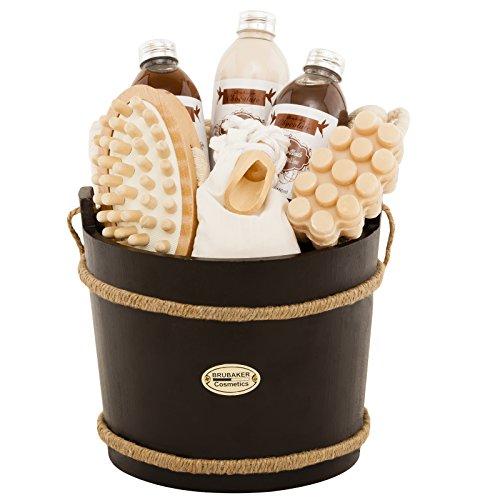 BRUBAKER 9-teiliges Wellness Verwöhn Badeset Geschenkset – Schokolade