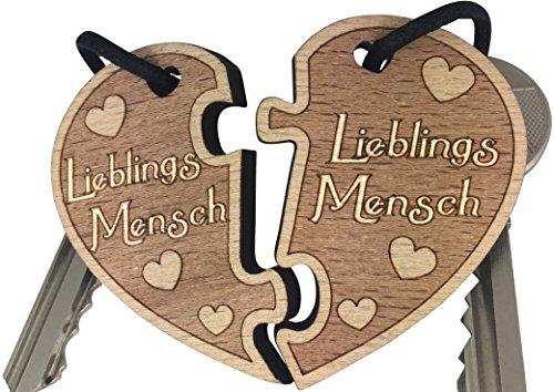 Lieblingsmensch Schlüsselanhänger aus Holz sehr gute Qualität Partnergeschenk Herz Anhänger Geschenk vom original endlosschenken