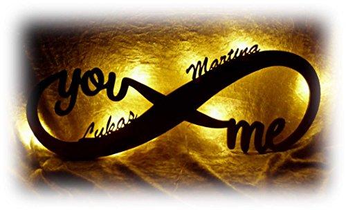 Schlummerlicht24 Led Unendlichkeitszeichen mit Namen Liebe Liebesbeweise zur Hochzeit Verlobung Jahrestag Hochzeitsgeschenke Wohnzimmer Schlafzimmer Freundin Partner Geschenk